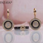 PATAYA New 585 Rose Gold Natural Zircon Black Ceramic Long Dangle Earrings Rings Sets Women Bridal <b>Wedding</b> Party Fine <b>Jewelry</b>