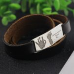 Hot ! <b>silver</b> <b>jewelry</b> Handprint & Feetprint Name Bracelet Men Women 925 Solid <b>Silver</b> Name Pendant Bracelet with Leather Belt