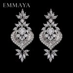 EMMAYA New Arrival Luxury Big Long Flower Pendant Drop Earrings With Shining CZ Brincos Bridal Women Wedding Party <b>Jewelry</b>