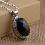 FNJ 925 <b>Silver</b> Oval Pendant Black Stone Pure S925 Solid Thai <b>Silver</b> Pendants for Women Men <b>Jewelry</b> Making