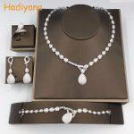 Hadiyana New Classical Waterdrop AAA CZ <b>Jewelry</b> 4pcs Set Hotsale Women High Quality African <b>Jewelry</b> Sets For Wedding Party CN073