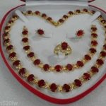 Prett Lovely Women's Wedding women's gift true RED STONE Earring Bracelet Necklace Ring mujer brincos for <b>jewelry</b>