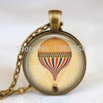 Wholesale Vintage Hot Air Balloon <b>Antique</b> Bronze Necklace Handmade Necklace Steampunk Pendants Necklaces Fashion <b>Jewelry</b>