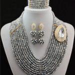 2016 <b>Handmade</b> Grey Gray Crystal women necklaces costume jewellry nigerian wedding african beads <b>jewelry</b> set