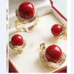 real silver-<b>jewelry</b> Women's Wedding design! wonderful 11*14MM ROUND RED CORAL SOUTH SEA SHELL PEARL earrings ring & pendant set
