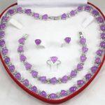 Natural heart shape natural Purple gem necklace <b>bracelet</b> Stud earring Ring Sets Quartz Fine 925 <b>Silver</b> watch wings women queen