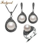 Feelgood Jewellery Vintage Silver Color Water Drop Necklace Sets Black Crystal And Imitation Pearl <b>Jewelry</b> Set For Women Gift