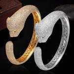 Luxury Brand Cubic zircon Leopard Animal Bangles for Women Men <b>Jewelry</b> Perfect Copper Gold silver color Bridal Bangles Bracelet