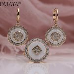 PATAYA New Arrivals 585 Rose Gold Natural Zircon Long White Ceramic Dangle Earrings Rings Sets Women <b>Wedding</b> Luxury <b>Jewelry</b> Set