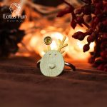 Lotus Fun Real 925 Sterling Silver Natural Tourmaline <b>Handmade</b> Fine <b>Jewelry</b> Christmas Joys Cute Reindeer Open Rings Best Gift