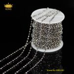 5Meters 2x3mm Faceted Glass Wire Wrapped Silver Titanium Glass Cut Rondelle Beads <b>Fashion</b> Chains Beading Bracelet Chains ZJ108
