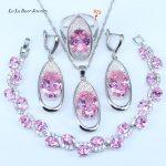 L&B Round Pink Cubic Zirconia White CZ 925 Sterling <b>Silver</b> Jewelry Sets For Women Earrings/Pendant/Necklace/<b>Bracelets</b>/Rings