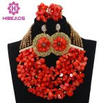 Orange Coral Beads Set New Nigerian Wedding <b>Necklace</b> African Beads <b>Jewelry</b> Set Women Gift Set Free Shipping HX567