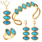 U7 Blue Stone Jewelry Sets For Women Gold/<b>Silver</b> Color Costume Wedding Jewelry Set For Brides Turkish Jewelry S697