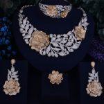 GODKI Luxury Leaf Rose Flower Women Nigerian Wedding Naija Bride Cubic Zirconia <b>Necklace</b> Dubai 4PCS Wedding <b>Jewelry</b> Set
