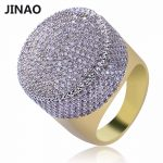 JINAO Gold Color Plated Iced Out Bling Ring Micro Pave Cubic Zircon Round Big Ring Hip Hop <b>Jewelry</b> For Men With 7,8,9,10,11 Size