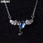 ZHHIRY Women Real Natural Moonstone Gemstone Solid 925 <b>Sterling</b> <b>Silver</b> Necklace Pendant For Ladies Girls Bat Shape Fine <b>Jewelry</b>