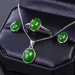 LANZYO 925 sterling <b>silver</b> Jasper Jewelry Sets Fine Jewelry Ring Necklace Pendant <b>Earring</b> Women Bridal tz0810agby