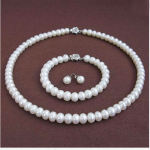 Wedding Woman <b>jewelry</b> Set 9-10mm AAA Natural White Freshwater Pearl Necklace Bracelet Earring Rose Flower Clasp <b>Handmade</b>