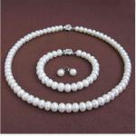 Wedding Woman <b>jewelry</b> Set 9-10mm AAA Natural White Freshwater Pearl Necklace Bracelet Earring Rose Flower Clasp <b>Handmade</b>