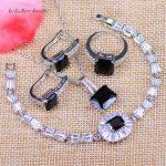 L&B West Style Black Zircon 925 Logo <b>Silver</b> Color Wedding Jewelry Sets Crystal <b>Bracelet</b> Earrings Pendant Necklace Ring