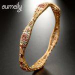 OUMEILY Unique Design Gold Color Bracelets Bangles Women For Wedding Copper Hollow Out Dubai Nigerian Bridal <b>Jewelry</b> <b>Accessories</b>