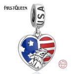 FirstQueen Pure 925 Sterling <b>Silver</b> Heart Bead Enamel USA Flag With National Eagle Bird Fit <b>Bracelet</b> DIY Patriotic Jewelry