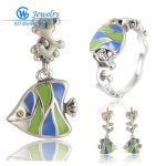 Fish Jewelry <b>Silver</b> Sets 925 <b>Silver</b> Earrings Pendant and Ring Fit <b>Bracelet</b> Necklace berloque armband GW Jewelry SET-008H15