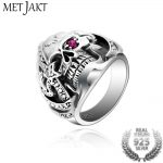 MetJakt Punk Rock Men's Pirates of The Caribbean Skull Rings Solid 925 <b>Sterling</b> <b>Silver</b> Ring for Men Vintage Thai <b>Silver</b> <b>Jewelry</b>