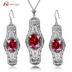 Luxury Handmade Vintage Jewelry Sets Real 925 Sterling <b>Silver</b> Crystal <b>Earring</b> Pendant Red CZ Stones Women Wedding Dresses Sets