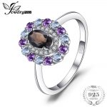 JewelryPalace 1ct Genuine Smoky Quartz Sky Blue Topaz Amethyst Cluster Ring 925 Sterling <b>Silver</b> Vintage Gift For Women <b>Jewelry</b>