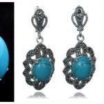 NEW Vintage Blue Turquoises 925 Sterling <b>Silver</b> Marcasite Ring (#7-10) pendant and earrings sets