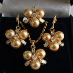 Women's Wedding Rare 8mm Yellow South Sea Shell Pearl Earrings Ring & Necklace Pendant Jewel Set real silver –<b>jewelry</b>