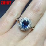 Women Natural Sapphire Stone Ring Genuine Solid <b>Silver</b> White Gold Plate Gem <b>Jewelry</b> Rings Birthstone ZHHIRY
