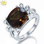 Hutang Cushion Cut 12mm Natural Smoky Quartz Ring Solid 925 Sterling <b>Silver</b> Gemstone Fine <b>Jewelry</b> Women Party Accessories