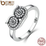 BAMOER Genuine 100% 925 Sterling Silver Clear CZ Cute Owl Stackable Finger Ring for Woman Wedding Engagement <b>Jewelry</b> SCR023