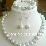 Fashion 10mm beautiful white shell simulated-pearl diy charming round beads necklace jewery set <b>making</b> 18inch/7.5inch GE4044