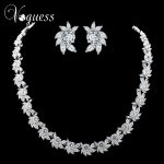 VOGUESS Gorgeous Cz Wedding <b>Jewelry</b> Sets Silver Color Rhinestone Flower Earrings <b>Necklace</b> Bridal <b>Jewelry</b> Sets with Box