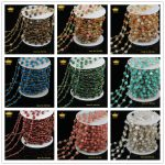 5Meter/lot Mix Faceted Round Stone Wire Wrapped Beaded Rosary Chain Natural Stone <b>Jewelry</b> Chain for Handmade DIY <b>Making</b> JD095