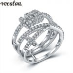 Vecalon <b>Handmade</b> Cross Rotate Ring AAAAA Zircon Cz Wedding Rings for Women White Gold Filled Engagement Band Bridal <b>Jewelry</b>