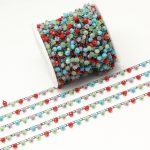 3x4mm Mixed Color Glass Wire Wrapped Faceted Rondelle Glass Chains in Gun Black Copper Glass Chains Findings <b>Jewelry</b> <b>Supplies</b>