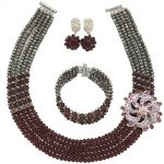 Fashion Dark Purple <b>Silver</b> African Beads Jewelry Set Nigerian Wedding Party Costume Necklace 5C-SXJB020
