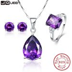 3PCS/Set Promotion Price High Grade Amethyst Engagement Bridal Jewelry Sets <b>Silver</b> Necklace with Stud <b>Earrings</b> & Wedding Bands