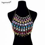 Ingemark Bohemian Bra Chain Button African Statement <b>Handmade</b> Multilayer Acrylic Body <b>Jewelry</b> for Women Wedding Party Gifts