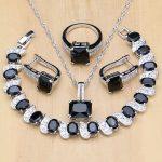925 <b>Silver</b> Bridal Jewelry Black Stone White CZ Jewelry Sets For Women Wedding Earrings/Pendant/Necklace/Rings/<b>Bracelet</b>