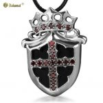 Bahamut 925 <b>Silver</b> Prince Royal Crown Kinght Cross Shield Pendant <b>Necklace</b>