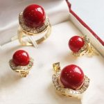 Prett Lovely Women's Wedding wedding red shell pearl crystal pendant chain earring ring <b>jewelry</b> set