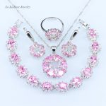 L&B quality 925 logo Pink crystal <b>Silver</b> color <b>Bracelet</b> Jewelry Sets For Women zircon Drop Earrings/Pendat/Necklace/Ring