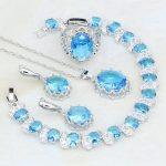 925 <b>Silver</b> Jewelry Sky Blue Australian Crystal White CZ Jewelry Sets For Women Engagement Earring/Pendant/Necklace/<b>Bracelet</b>/Ring