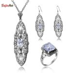 Szjinao Victorian Vintage 925 <b>Sterling</b> <b>Silver</b> Created Cubic Zirconia <b>Jewelry</b> Sets For Women Earrings/Pendant/Rings Free Gift Box